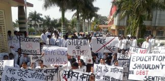protest against medical fees hike in uttarakhand